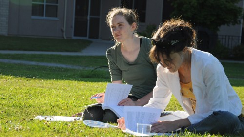 student-on-lawn
